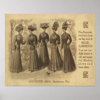 Anuncio de la moda del vintage impresiones