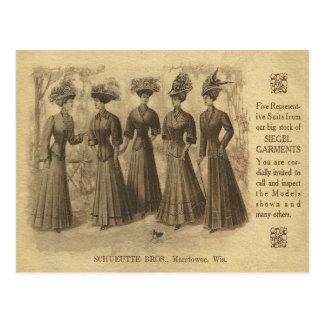 Anuncio de la moda del vintage postal