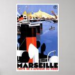Anuncio de la nave del vintage de Marsella Porte D Poster