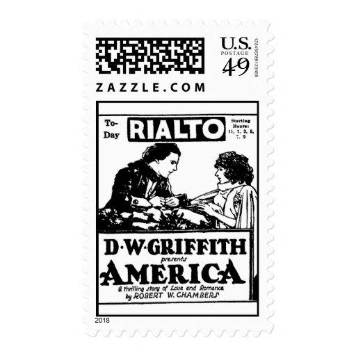 Anuncio de la película de D W Griffith América Franqueo