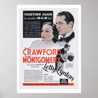 Anuncio de la película de Letty Lynton Joan Crawfo Poster