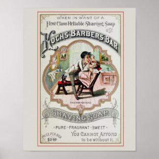 Anuncio de la peluquería de caballeros del vintage póster