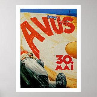 Anuncio de la raza auto del vintage de Avus Póster