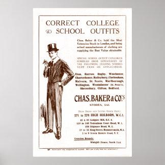 Anuncio de la ropa del panadero de Chas del vintag Póster