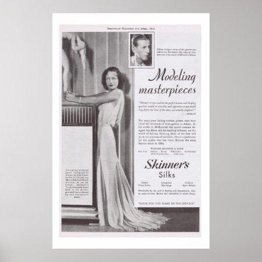 Anuncio de la seda del vestido de Joan Crawford Ad Posters