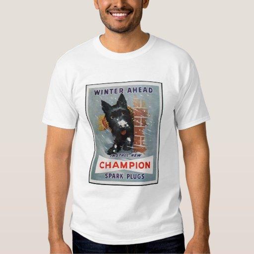Anuncio de las bujías del campeón del vintage camisas