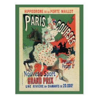 Anuncio de las carreras de caballos de París del Postal