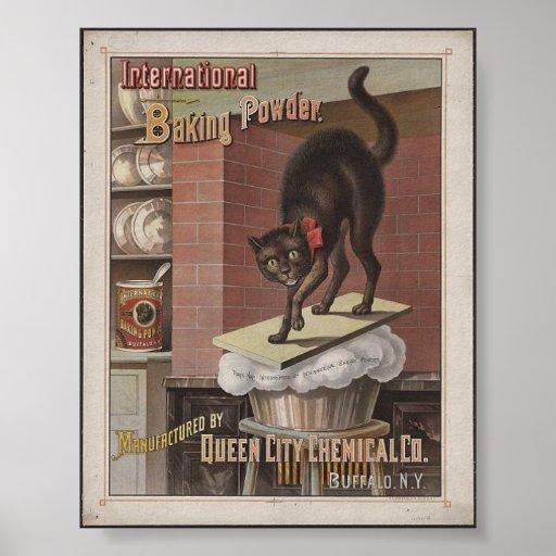 Anuncio de las ilustraciones del gato de la levadu póster