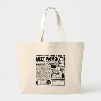 Anuncio de las mujeres de la reunión del vintage d bolsa tela grande