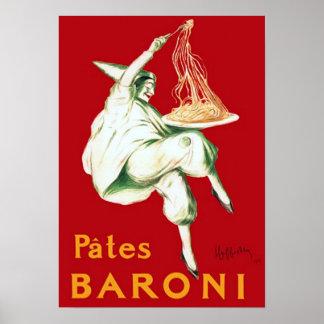 Anuncio de las pastas de Baroni del vintage Póster