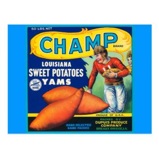 Anuncio de las patatas dulces de la marca del tarjeta postal