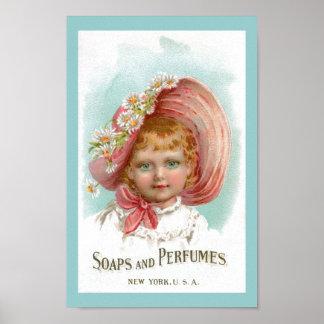 Anuncio de los jabones y de los perfumes del vinta poster