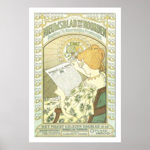 Anuncio de periódico holandés de Nouveau del arte Poster