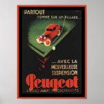 Anuncio de Peugeot del vintage - billard de la O.N Posters