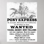Anuncio de Pony Express Póster