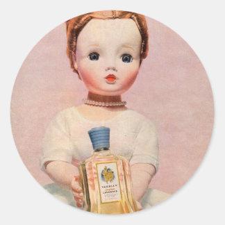 anuncio de Yardley de los años 50 con la muñeca de Pegatina Redonda