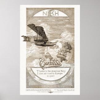Anuncio del aeroplano de Curtiss del vintage a par Posters