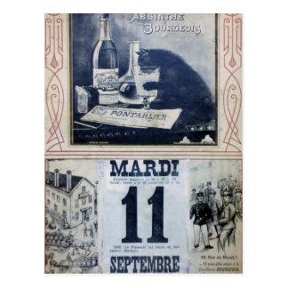 Anuncio del ajenjo del vintage con el gato tarjeta postal