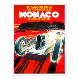 Anuncio del automóvil del vintage de Mónaco Grand  Tarjeta Postal