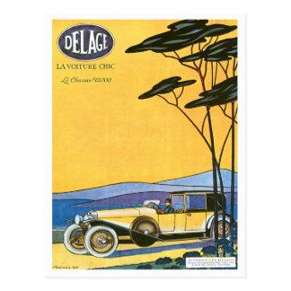 Anuncio del automóvil del vintage del ~ de Delage Postal