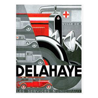Anuncio del automóvil del vintage del ~ de Delahay Tarjetas Postales