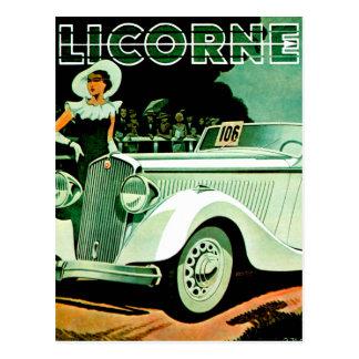 Anuncio del automóvil del vintage del ~ de Licorne Tarjetas Postales