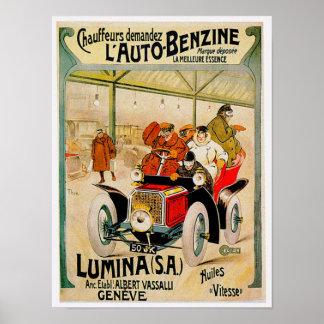 Anuncio del automóvil del vintage del ~ Lumina S.A Póster