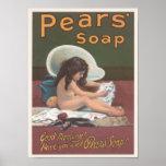 Anuncio del baño del gato del jabón de las peras posters