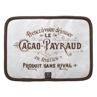 Anuncio del cacao del chocolate del vintage, grung planificadores