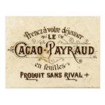 Anuncio del cacao del chocolate del vintage postal