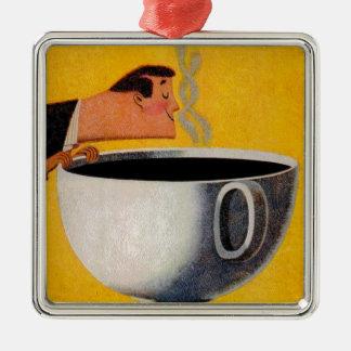 Anuncio del café del vintage adorno navideño cuadrado de metal