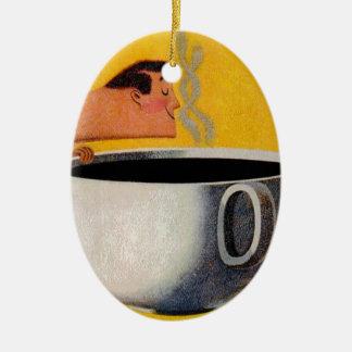 Anuncio del café del vintage adorno navideño ovalado de cerámica