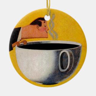 Anuncio del café del vintage adorno navideño redondo de cerámica