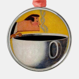 Anuncio del café del vintage adorno navideño redondo de metal