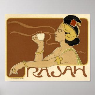 Anuncio del café del vintage de Rajah - poster