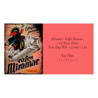 Anuncio del café del vintage para Miramar Tarjetas De Visita