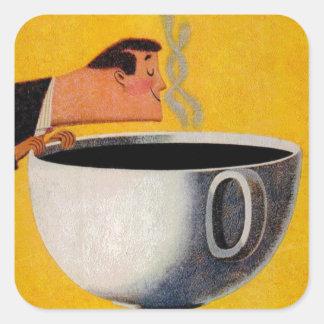 Anuncio del café del vintage pegatina cuadrada