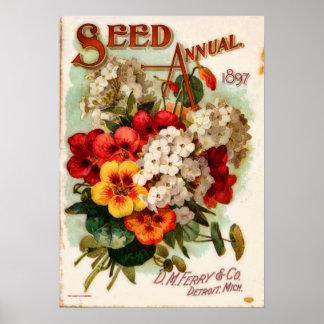 Anuncio del catálogo de la flor del vintage del póster