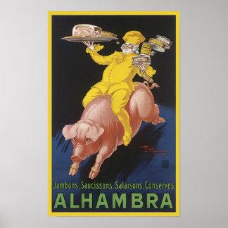 Anuncio del cerdo del vuelo del jamón de Alhambra Posters