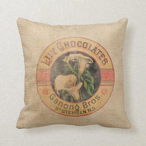 Anuncio del chocolate del vintage de la arpillera cojín