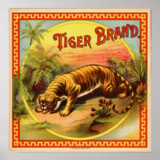 Anuncio del cigarro del vintage: Marca del tigre Póster