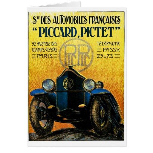 Anuncio del coche del vintage de Picard Pictet Tarjeta De Felicitación