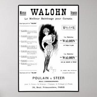 Anuncio del corsé de Poulain y del buey Póster