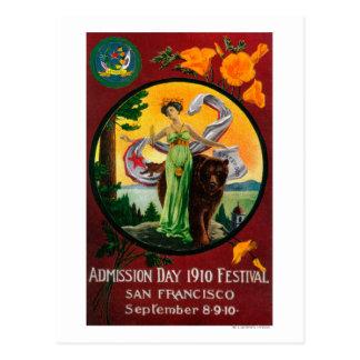 Anuncio del día de admisión, festival del estado tarjetas postales
