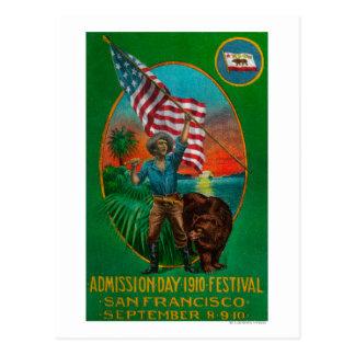 Anuncio del día de admisión, festival del estado postales