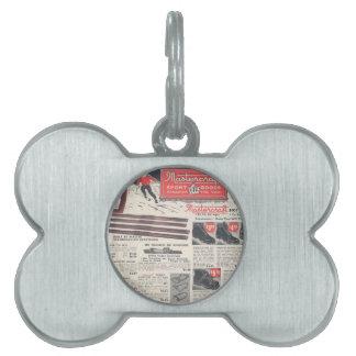 Anuncio del esquí del vintage mercancías de los d placa de mascota