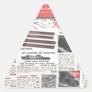 Anuncio del esquí del vintage, mercancías de los pegatina triangular