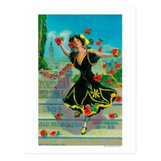 Anuncio del festival de Portola (bailarín) Tarjeta Postal