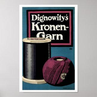 Anuncio del hilado de Kronengard del vintage Posters