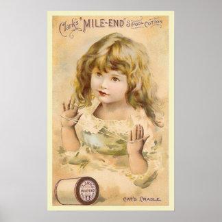 Anuncio del hilo del algodón del chica del vintage póster